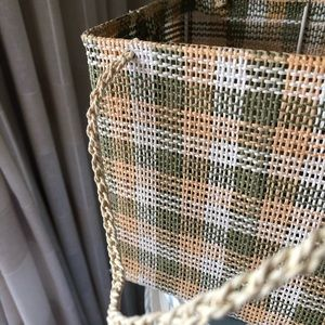 Vintage Accents - Vintage Woven Green And Yellow Basket!
